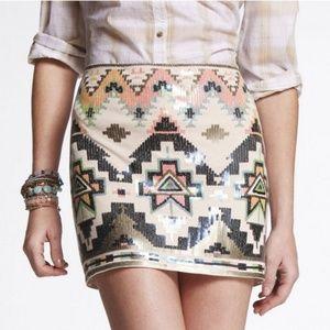 Express Sequins Aztec Skirt